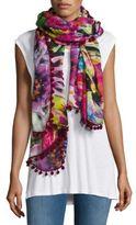 Bindya Pom-Pom Trimmed Floral-Printed Scarf