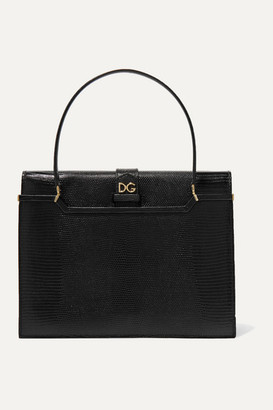 Dolce & Gabbana Ingrid Lizard-effect Leather Tote - Black