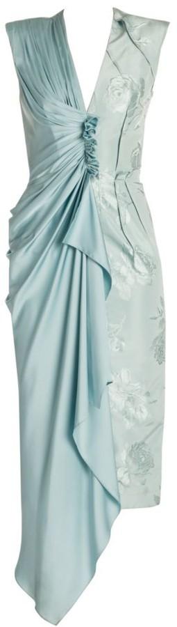Alexander McQueen Deconstructed Silk Jacquard Midi Dress