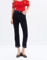 Miss Selfridge Black Eyelet Straight Leg Jeans