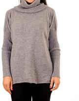 Black Grey Cashmere Sleeved Poncho Sweater with Snood