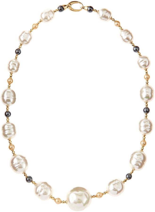 Majorica Baroque Pearl and Hematite Necklace