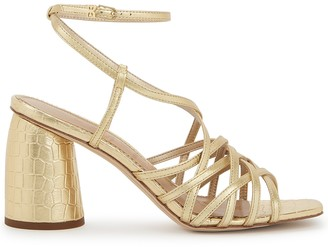 Sam Edelman Daffodil 90 Gold Crocodile-effect Sandals