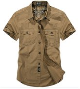 Insun Men's Solid Cotton Short Sleeve Button Down Shirt L Army