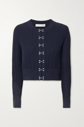 Dion Lee Cropped Ribbed-knit Cardigan - Midnight blue
