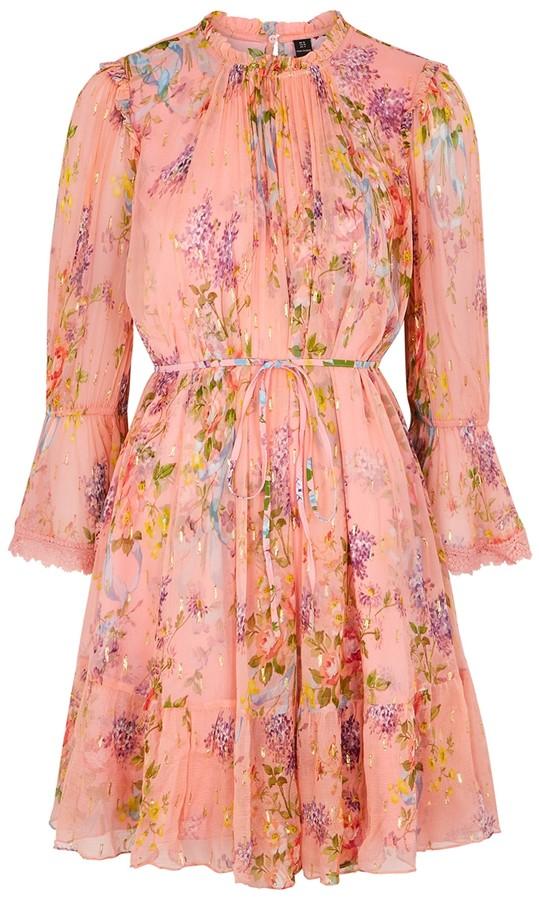 Needle & Thread Floral Diamond floral-print chiffon mini dress