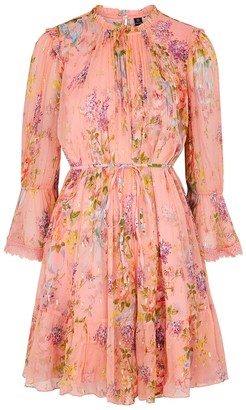 Needle & Thread Floral Diamond floral-print chiffon mini dress