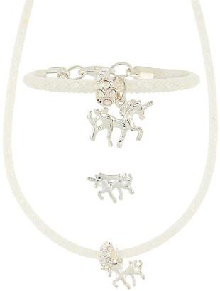 Monsoon Girls Sparkle Encased Unicorn Necklace,Bracelet & Rings - Ivory