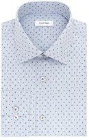Calvin Klein Men's Non Iron Regular Fit Printed Check Spread Collar Dress Shirt