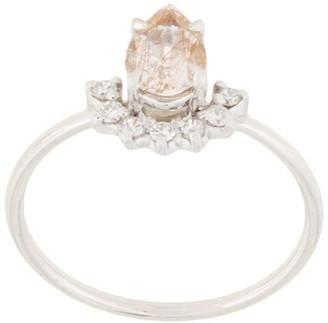 Natalie Marie 14kt White Gold Rutilated Quartz And Diamond Ring