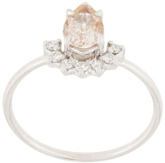 Natalie Marie 14kt White Gold Rutilated Quartz And Diamond Ring