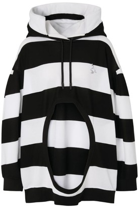 Burberry Stirped Cut-Out Hoodie