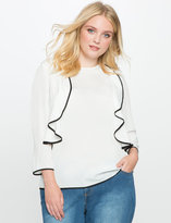 ELOQUII Plus Size Ruffle Flounce Top with Piping