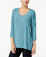 Style&Co. Style & Co Petite Lattice Crochet Top, Only at Macy's