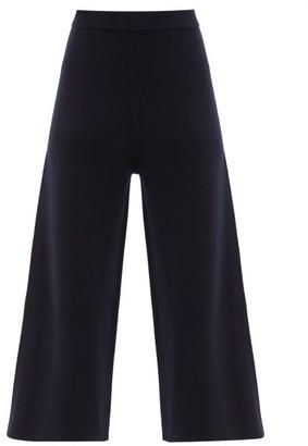 Joseph Cropped Wide-leg Wool Trousers - Navy