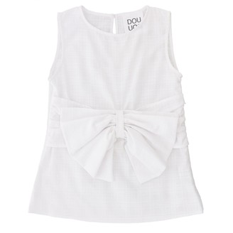 Douuod Sleeveless Shirt With Maxi Bow