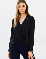 Warehouse Knot Front Long Sleeve Top