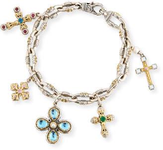 Konstantino Cross Charm Bracelet with Blue Topaz & Pearls