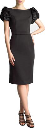 Basix II Bateau-Neck Satin Rosette Sleeve Cocktail Dress