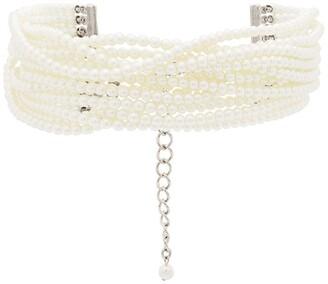 Kenneth Jay Lane Multi Strand Pearl Choker Necklace