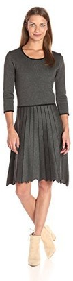 Taylor Dresses Women's Full Pleated Skirt Sweater Knit Dress