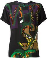 Versace printed logo blouse - women - Silk - 42