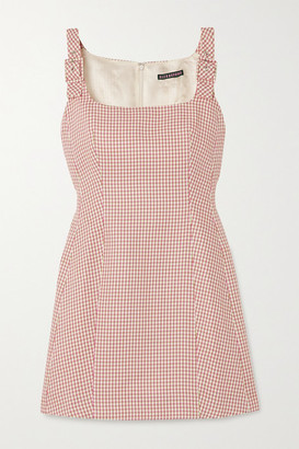 ALEXACHUNG Buckled Houndstooth Jacquard-knit Mini Dress - Pink