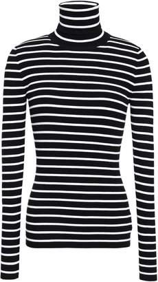 Michael Kors Striped Ribbed-knit Turtleneck Top