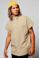 boohoo Capped Sleeve Check Shirt yellow