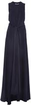 Rosetta Getty Hammered Satin Tie Front Gown