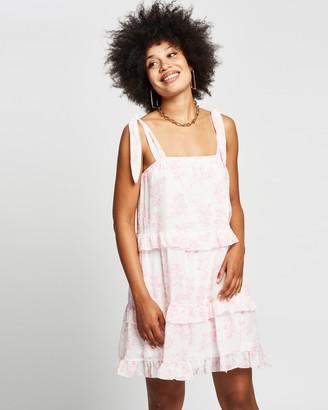 Reverse Tiered Floral Mini Dress