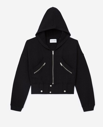 The Kooples Hooded black sweatshirt with zipped pockets