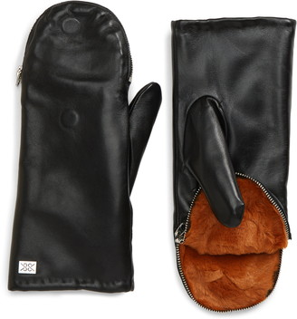 Soia & Kyo Leather Zip Top Mittens with Faux Fur Lining