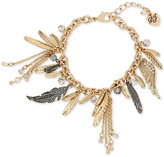 Betsey Johnson Two-Tone Feather and Crystal Charm Bracelet