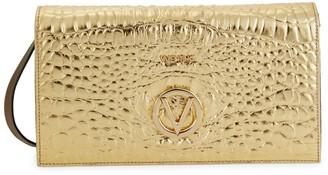 Mario Valentino Valentino By Lena Croc-Embossed Metallic Leather Crossbody Bag