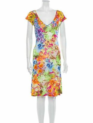 Versace Floral Print Knee-Length Dress Green