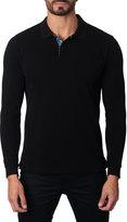 Jared Lang Long-Sleeve Cotton-Blend Polo Shirt, Black