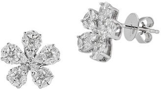 Zydo Mosaic 18K White Gold & Diamond Flower Stud Earrings