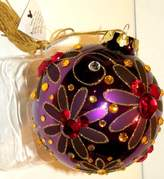 """Disney Parks Exclusive Purple Jeweled Large 4"""" Glass Mickey Mouse Ear Heads Bohemian Christmas Ornament"""