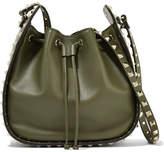 Valentino Garavani The Rockstud Leather Bucket Bag - Army green