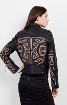Nicole Miller Mola Moto Embroidered Leather Jacket