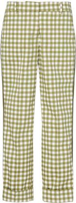 Silvia Tcherassi Gingham-Patterned Garmet Cropped Pants