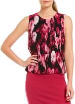 Calvin Klein Petites Floral Print Chiffon Pleat Front Blouson Top