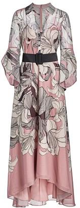 Badgley Mischka Lotus Belted Shirt Dress