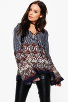 Boohoo Helen Border Print Lace Up Front Blouse