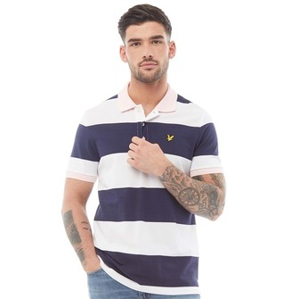 Lyle And Scott Vintage Mens Wide Stripe Polo Navy