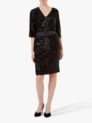 Hobbs Salma Sequin Skirt, Black