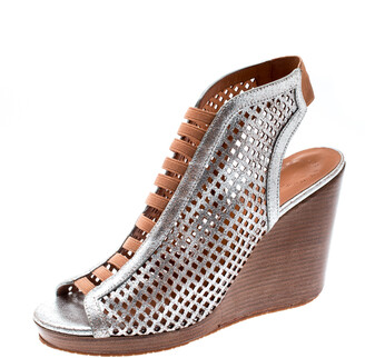 Marc by Marc Jacobs Metallic Silver Perforated Leather Susanna Wedge Platform Sandals Size 40.5