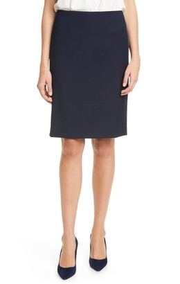 BOSS Vatiso Tuxedo Stripe Stretch Wool Pencil Skirt