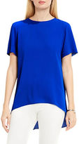 Vince Camuto Petite Jewelneck Short-Sleeve High-Low Blouse